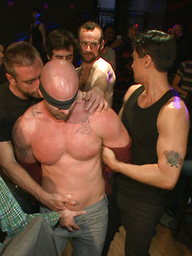 Muscle stud Mitch Vaughn tied up and used in a public bar