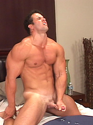 Muscled hunk Brok jacking off cock