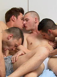 Each guy eagerly takes his turn to both give and receive a true oral worship session