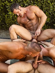 Four hot muscle guys Jerek, Aaron Parker, Colton Ford and Travis Reed fucking