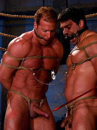 Two muscular guys get tied up and have their nipples and cocks abused while their asses are fucked