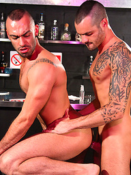 Issac Jones pounds horny hunk Tony Thorn right on the bar