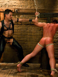 Master Avery uses and abuses the new muscle slave