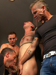 Muscle stud uses and abuses his boy in front of a horny lunch crowd.