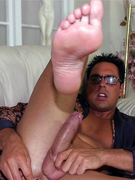 Relaxing at home gets Marcello in the mood to play with his huge and hard dick