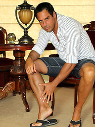 Marcello rubs his feet hard and then his cock softly