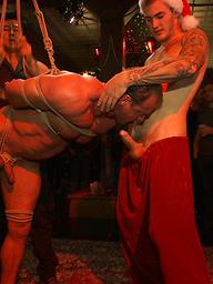 Brian Bonds gets gang banged and bukkake during an Xmas party.