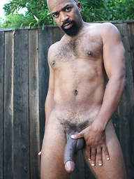 Sexy black gay Jaguar shows his big cock