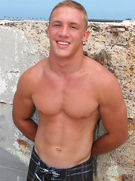 Cute college boy Chris stripping and showing his hot muscle body