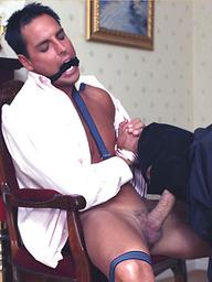 Burglar ties Marcello up and sucks his cock dry