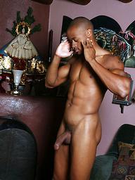 Ebony stud Dre shows his cock