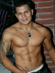 Hot muscle latino Alan shows his fat uncut cock.