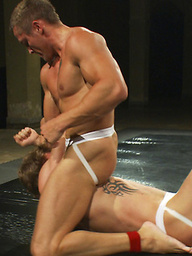 Trent Diesel and Ryan Rockford dominate each other in an oil match and fuck in the locker room shower.