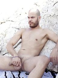 Bald dude Alex Iron jacking off