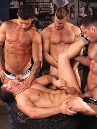 Horny muscle hunks Erik Rhodes, Landon Conrad, Marc Dylan and Trenton Ducati fucking