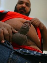 Chubby arabian bear Ali shows cock