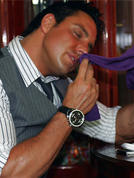 Hunky Marcello has bought a new pack of silky socks, he sniffs one pair as he shoots his load on another