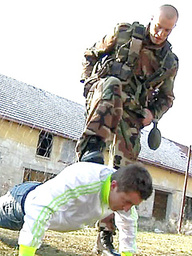 Young soldier forced to suck