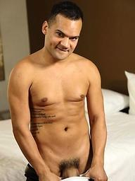 Mature latin macho Tony Vega  shows his uncut cock