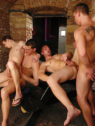 Four studs fucking in a dungeon