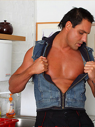 Marcello the stud gets horny in the kitchen and masturbates