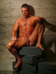 Hot muscle man shows his cock