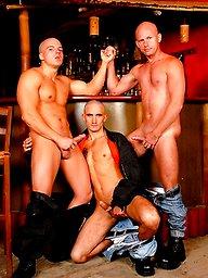 Three muscle guys Peter Shadow, Tom Taylor and Igor C