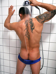 Brady Kent wants you in the shower with him as he soaks his tattooed young body