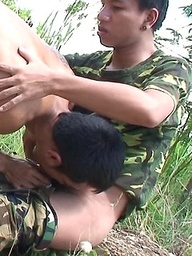 Two hot youthful soldiers out on patrol, decide to suck each other's juicy hard dicks.