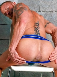 Derek Parker shows his perfect muscle tattooed body
