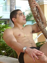 Beefy Gabriel posing outdoors