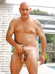 Bald daddy Matt Trinity strokes dick