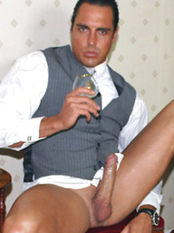 Marcello winds down by smoking a big cigar and taking off his leather shoes, before cumming inside a brandy glass