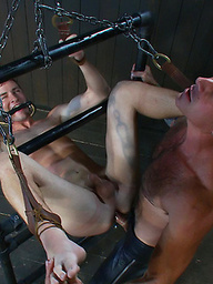 Real life BDSM player gets tied up by Nick Moretti and milked on the Sybian machine.