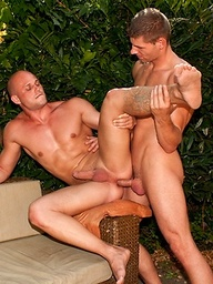 Bald muscle man riding cock
