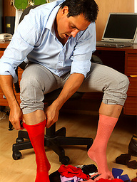 Marcello just loves to wear his sexy socks and play with his dick