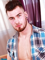 Gorgeous Randy Martin busts a nut onto his chest.