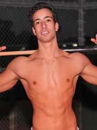 Hot baseball Samuel player strokes cock