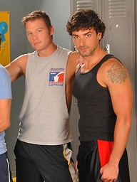 Three muscle guys fucking in a locker room