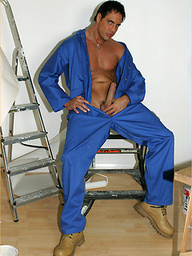 Marcello takes a break from the decorating and has a slow wank to relax