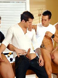Four hot hunks Phenix Saint, Parker London, Rod Daily, Paul Wagner fucking