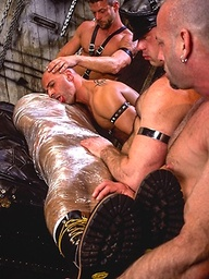 Muscle men leather orgy