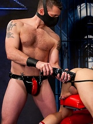 Morgan Black and Cylus Kohan  playing with huge toy