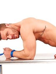 Muscle athlete Landon Conrad bounded