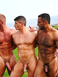 Adam Champ, Eric Valentin and Gage Weston - muscle gay threesome