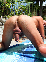 Hairy mate Scott Campbell showing off in the Hot Tub