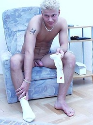 Blond euro twink shows uncut cock